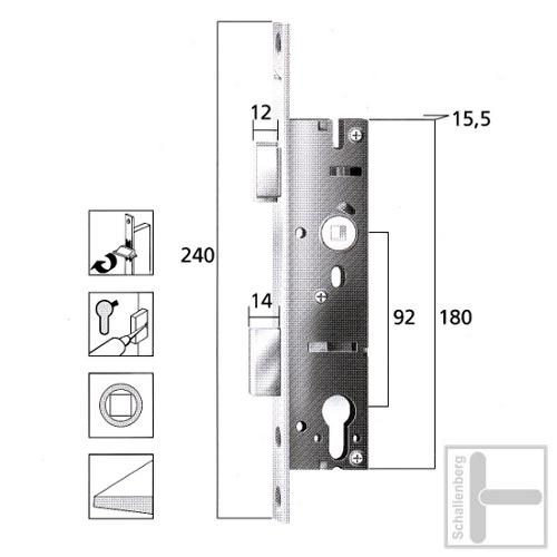 Rohrrahmen Einsteckschloss 18406-5mm