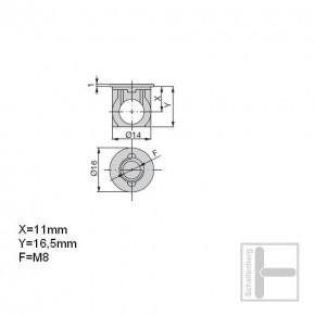 Bolzengehäuse M8 x 22 mm