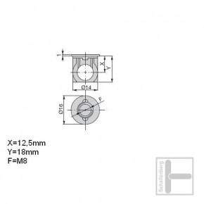 Bolzengehäuse M8 x 25 mm