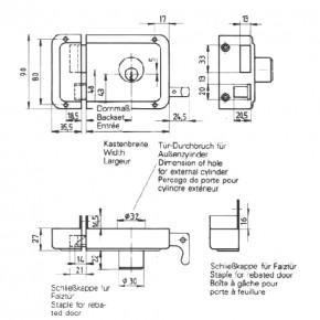 Kastenschloss mit Ziehknopf 2524 rechts / 60 mm