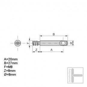 Gewindebolzen M8 x 27 mm