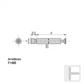 Gewindebolzen M6 x 49 mm