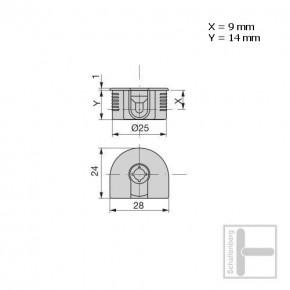 Exzenter-Verbinder klein 25 mm