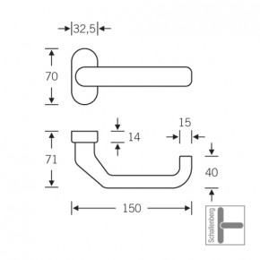 Verkröpfter Rahmentürdrücker FSB 06 0662 Aluminium